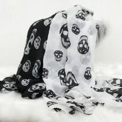 Foulard tête de mort en mousseline de soie couleur blanche