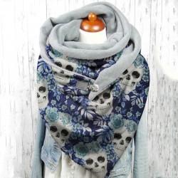 Châle tête de mort en cachemire doublé en polyester modèle 2