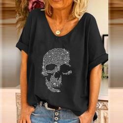 T-shirt à manches courtes col V pour femme imprimé tête de mort en strass noir