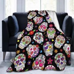 Couverture noire molletonnée en flanelle, avec crânes mexicains colorés !
