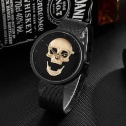 Montre Tête de Mort Femme bracelet acier couleur noir