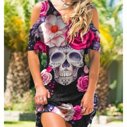 Robe épaules dénudées imprimé Tête de Mort Style Punk Rose - modele 1