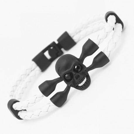 Bracelet Cuir Tête De Mort marron blanc