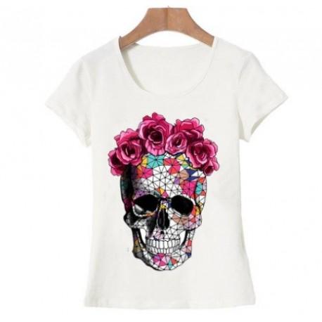T shirt Tête de Mort Fleurie