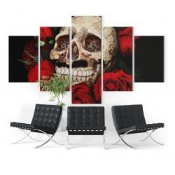 Tableau Tête de Mort Roses du Deuil