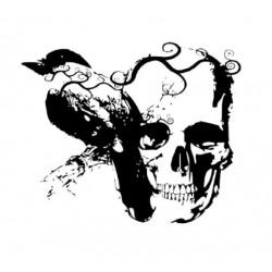 Sticker Tête de Mort Corbeau
