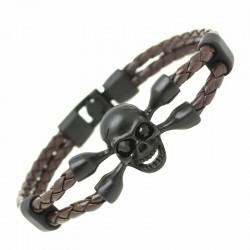 Bracelet Cuir Tête De Mort