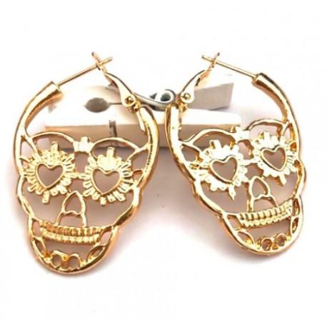 Boucles d'oreille Tête de Mort Or